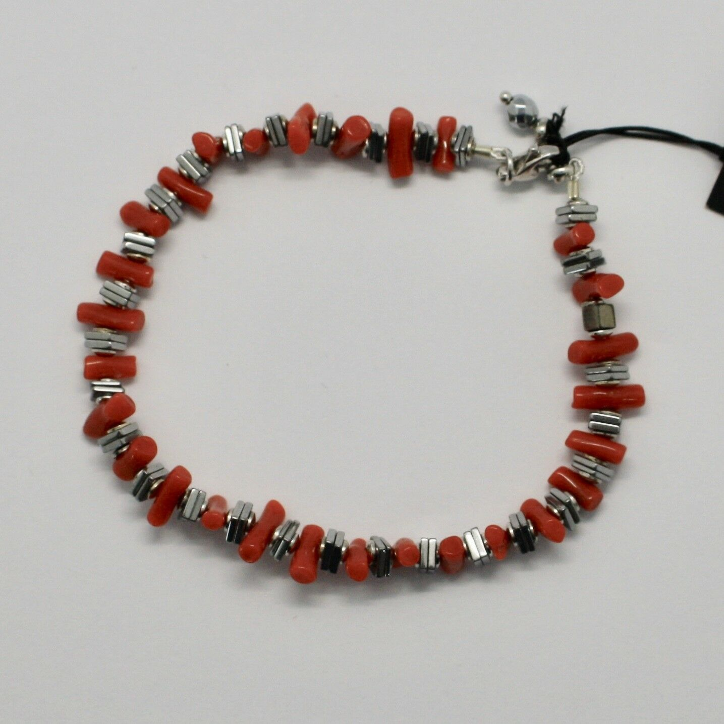 SILVER 925 BRACELET WITH CORAL HEMATITE BPI90-2 MADE IN ITALY BY MASCHIA