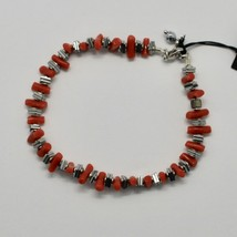 SILVER 925 BRACELET WITH CORAL HEMATITE BPI90-2 MADE IN ITALY BY MASCHIA image 1