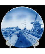 Delft Plate Windmill Canal Victorian Blue And White 1890s Charger Hand P... - $38.00