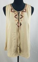 Daniel Rainn women M sleeveless blouse Yolk Split Neck embroidery tussle... - $7.92