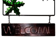 Metal & Glass Winter Holiday Cardinal Seasonal Hanging Welcome Sign Decor image 4