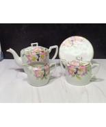 Vintage Noritake Azalea Pattern China Teapot Sugar Bowl Creamer Trivet S... - $91.08