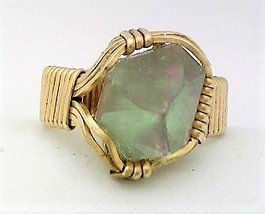 Quartz Crystal Point Brass Wire Wrap Gemstone Ring 11 - $10.28