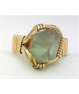 Quartz Crystal Point Brass Wire Wrap Gemstone Ring 11 - $10.28