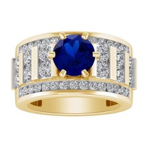 925 Sterling Silver 2.45 Ct Blue Sapphire Solitaire W/Accent Engagement... - £86.53 GBP
