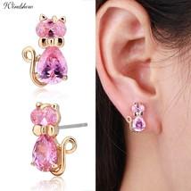 Cute 5colors Cz Bow Knot Kitten Gato Kitty Cat Stud Earrings Women Children Girl - $10.38