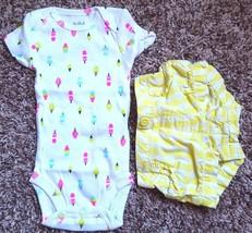 Girl's Size NB Newborn 2 Pc Carter's White Popsicle NWOT Top & Garanimal... - $15.50