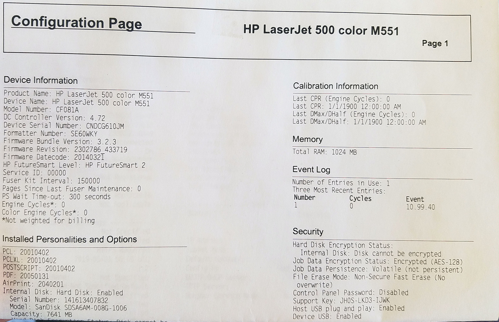HP Laserjet Enterprise 500 Color M551n CF081A (NEW) Bin: SF