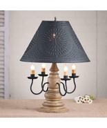 Country new Harrison Pearwood 4 arm wood table lamp w/ black tin shade - $315.99