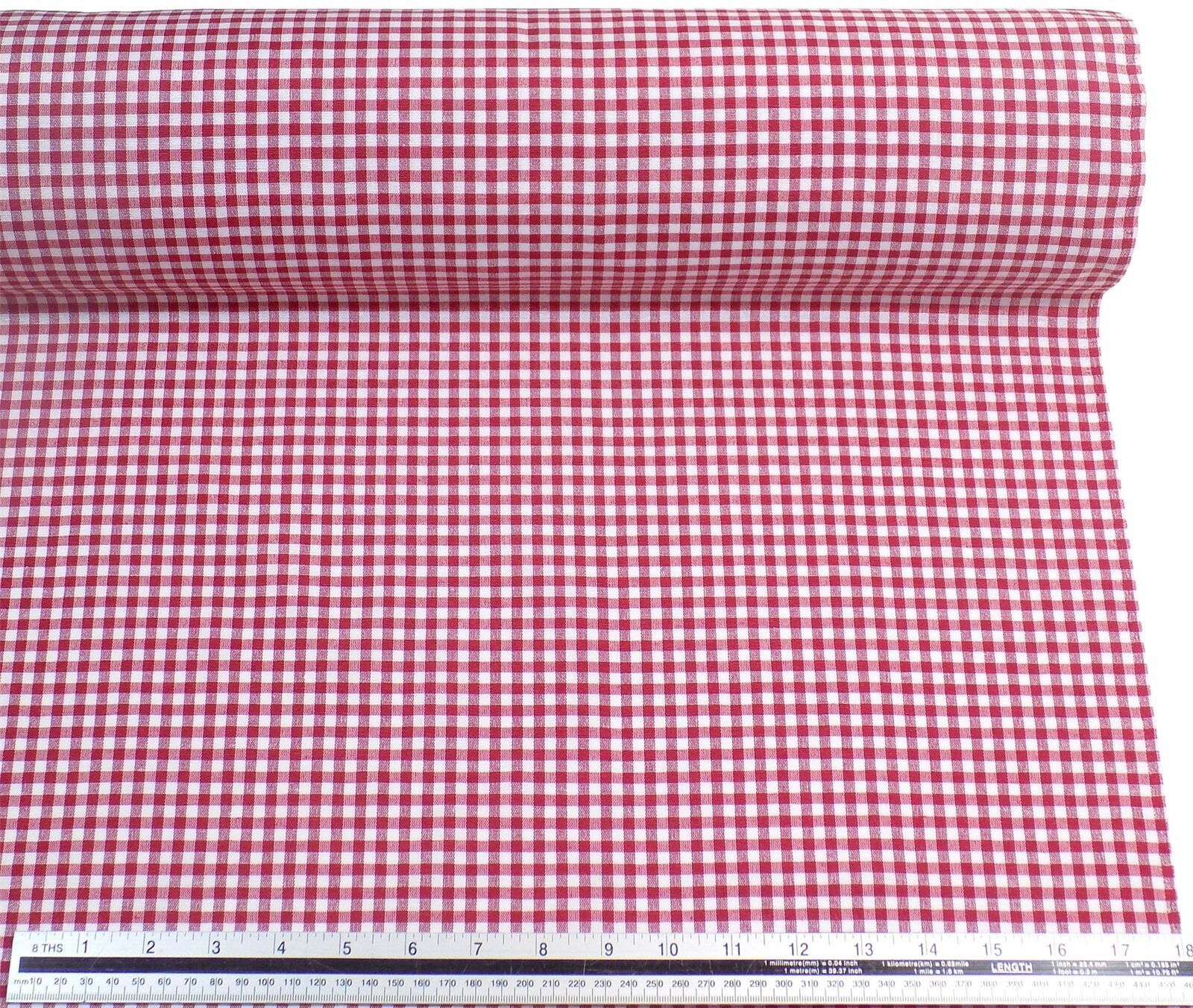Red White Gingham Check Cotton Blend High Quality Fabric Material 3 Sizes