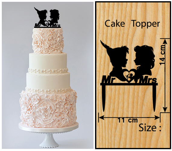 Wedding Cake topper,Cupcake topper,silhouette peter pan and elsa Package 11 pcs