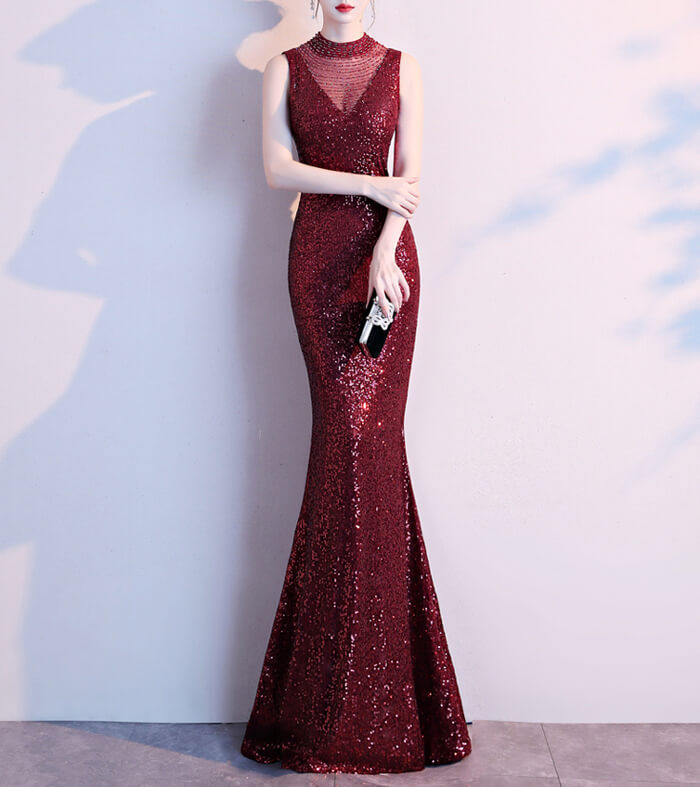 Burgundy Sequin Maxi Formal Dress High Waist V Neck Sequin Dress Wedding Gowns
