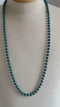 "34""VINTAGE SINGLE STRAND ROUND BEADED GREEN TEAL SLIP OVER NECKLACE,IMMO... - $4.94"