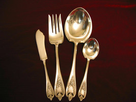 OLD COLONY Silverplate 1847 Rogers Antique Flatware 4 piece HOSTESS SET - $39.59