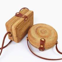 Handwoven Rattan Bag/Straw Bags/Rattan Handbag/Vegan Straw Bag/Boho Summ... - $32.99