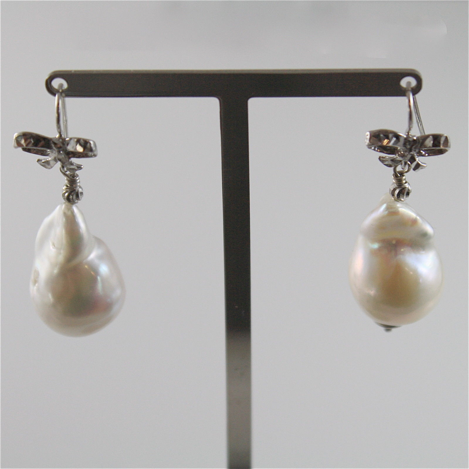 EARRINGS SILVER 925 WITH BEAUTIFUL WHITE PEARLS BAROQUE STYLE OF WATER DOLCE