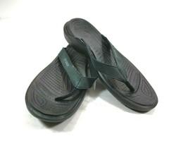 Crocs women's black with strap flip flop thong sandals size 11 model 11211 - $16.66