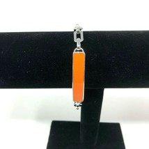 Lia Sophia ID Bracelet Silver Tone Orange Plaque Spring Ring Closure - $11.87