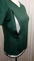 Breastfeeding Nursing Top SZ L IN 100% Cotton Zip Open V-Neck Short Slee... - $9.49