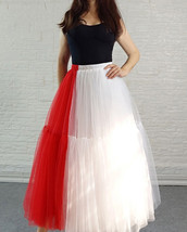 Red White Long Tulle Skirt Outfit Contrast Color Tutu Skirt Plus Size High Waist image 2
