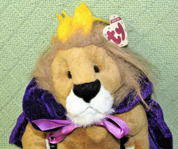 "VINTAGE TY SIRE LION KING 12"" JOINTED PLUSH + HEART TAG BROWN PURPLE MANTLE CAPE image 2"