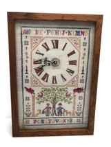Vintage Cross-stitch Sampler Clock alphabet Famliy Tree NeedleCraft #02186x - £34.77 GBP