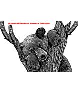 black bear in tree original printable art print digital download animals... - $5.99