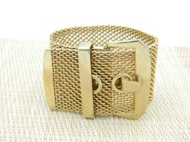 Large Wide Gold Tone Chain Link Buckle Belt Bracelet Vintage - $16.83
