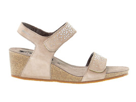 Heeled sandal MEPHISTO MARIA in taupe suede leather - Women's Shoes - $158.46