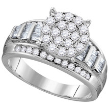 10k White Gold Round Diamond Cluster Bridal Wedding Engagement Ring 1/2 Ctw - £364.07 GBP