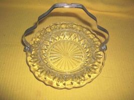 GLASS CANDY NUT DISH ELEGANT CUT WITH METAL CARRYING HANDLE HOLIDAY GLAS... - $5.00