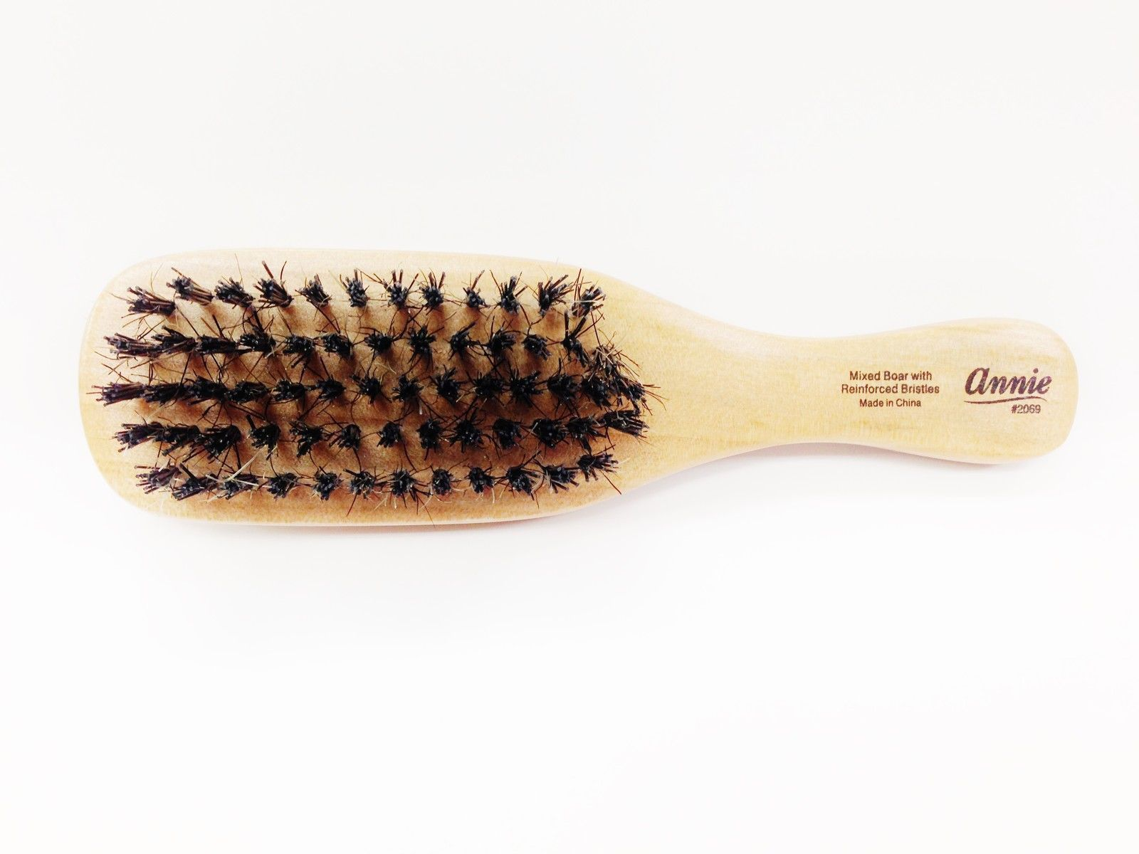 Annie Mini Wave Brush Hard Bristles 100% Boar Hair Styling Comb Small #2069 -1PC