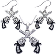Revolver Necklace and Earrings Set - Cowgirl Crossing Gun Pistol Pendant... - $29.98