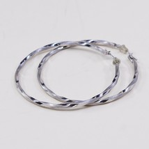"2"", Vintage Real 10K White Gold Earrings, Twisted Huge Hoops Huggie, Sta... - $92.44"