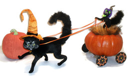 Halloween Pumpkin Coach & Black Cats Handmade Decoration  - $60.00