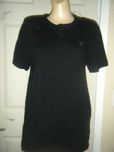 AMERICAN EAGLE ATHLETIC FIT BLACK COTTON KNIT BUTTON FRONT SHIRT  SIZE S/P - $14.50