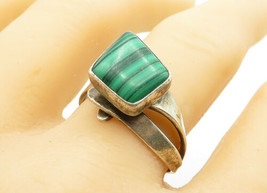 J. NELSON NAVAJO 925 Silver - Vintage Malachite Band Ring Sz 9 - R12339 - $30.98