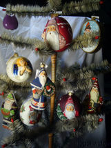 Vaillancourt Folk Art Jingle Ball Ornament  Classic American Santa with Tree image 3