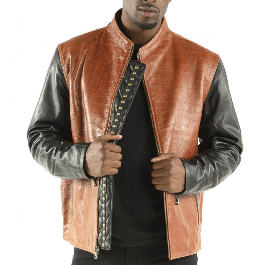 Studes Crocodile print leather men jackets