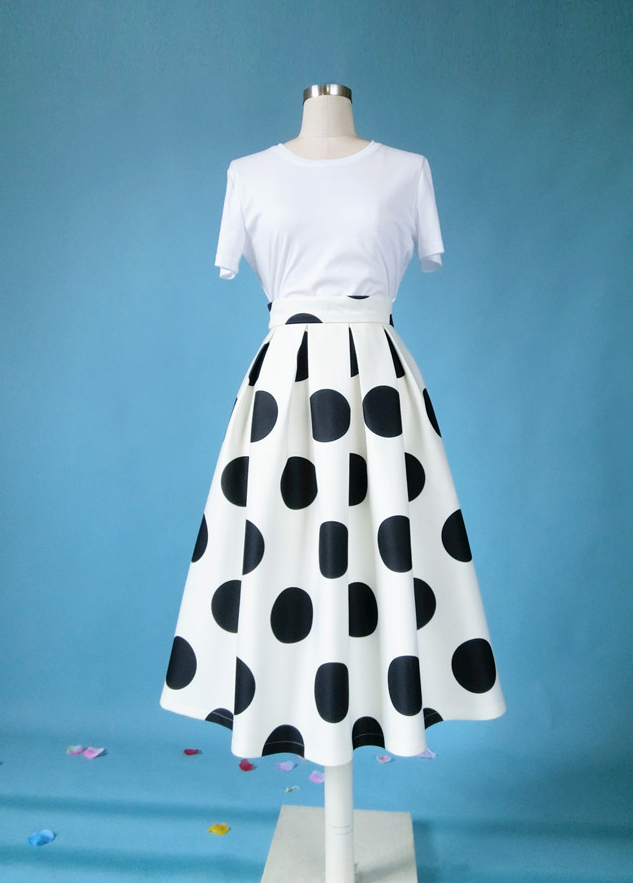 White A-Line Polka Dot Midi Skirt High Waisted Polka Dot Party Skirt Plus Size