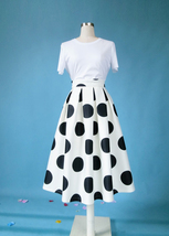 White A-Line Polka Dot Midi Skirt High Waisted Polka Dot Party Skirt Plus Size image 1