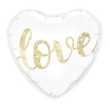 Mylar Foil Helium Party Balloon Wedding Decoration - White and Gold Love... - $6.99