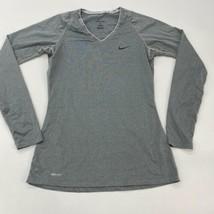Nike Pro Dri-Fit T Shirt Women's Medium Long Sleeve Gray Fitted Polyeste... - $18.95