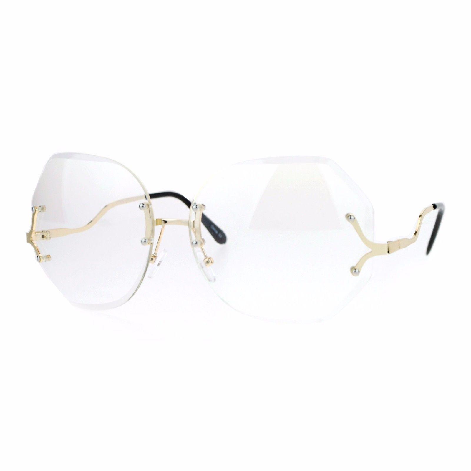 Super Oversized Clear Lens Glasses Rimless Vintage Fashion Beveled Lens