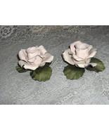2 Vintage Capodimonte Porcelain China Arnart Pink Rose Candlesticks Sign... - $64.35