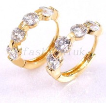 Women Clear & Pink Simulated Diamond 18K Gold/Rose Plated Hoop Earrings UK - $15.85