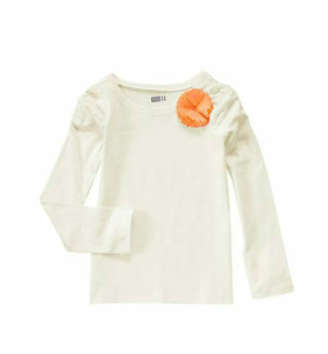 Primary image for Crazy 8 Girls Tee T-shirt 7 8 10 12 Off White 3D Orange Floral Long Sleeve New