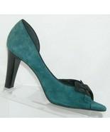Franco Sarto green suede bow ribbon peep toe slip on half d'orsay heels 8M - $37.04