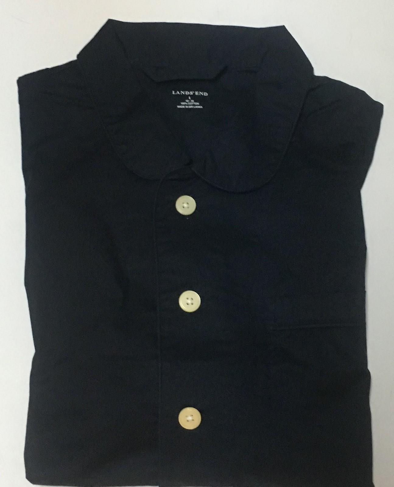 Lands' End Men's Navy Blue Shirt Long Sleeve Sz XL