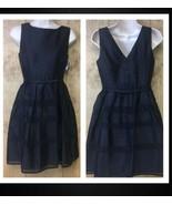 NEW Taylor Dresses Tonal Stripe Fit Flare Dress 4P Petite Black Nordstro... - $27.71